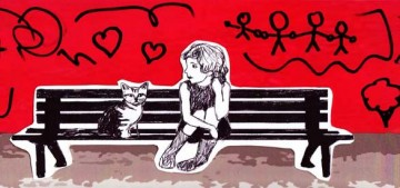 BZTAT sketch - girl and cat