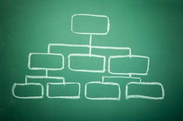 org chart on chalk board